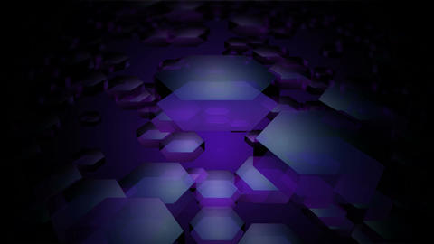 flying purple hexagon Animation