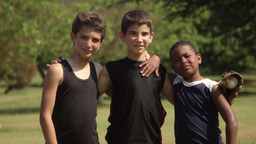 Friends And Sport With Happy Children Playing Base stock footage