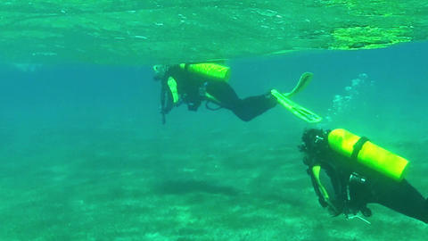 People Diving As Scuba Divers Swimming Underwater  stock footage