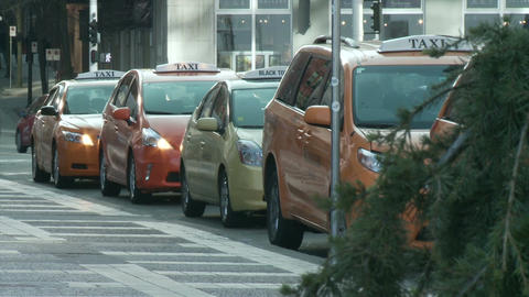 Taxi Cars - Waiting Line stock footage