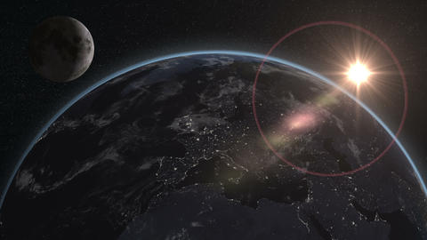 earth moon night day from space focus europe Animation