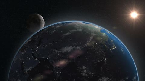earth moon night to day from space focus asia Animation