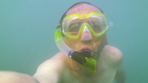 Funny Snorkel Man In The Sea stock footage