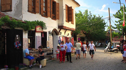 Main street of Sirince with a wine tasting house Footage