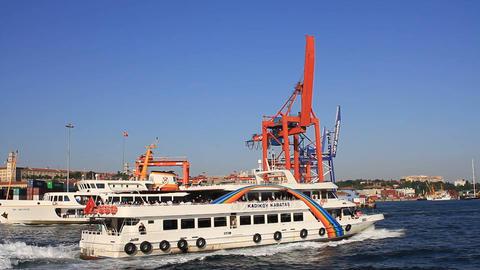 Kadikoy - Kabatas Passenger Ship cruising in front Footage
