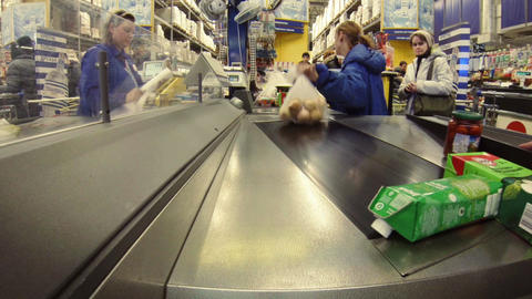 Shoppers at the store checkout Footage