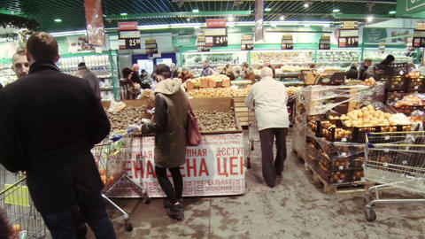 Shoppers at the grocery store Footage