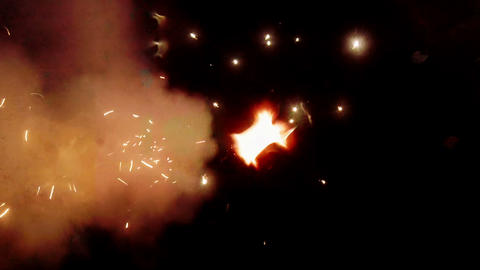 Salute. Fireworks in the night sky Footage