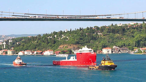 Towing Operation in Bosporus Straits Footage