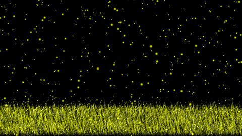 swing grass and snowflake,wrapped in a yellow light.Grassland,wheat,barley,plant Animation