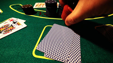 Poker 55 raise showdown Stock Video Footage