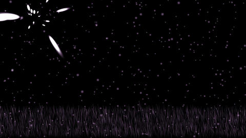 purple grass,shine stars at night,falling... Stock Video Footage