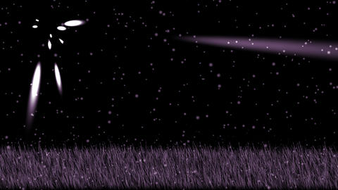 purple grass,shine stars at night,falling snowflake,psychedelic landscape Animation