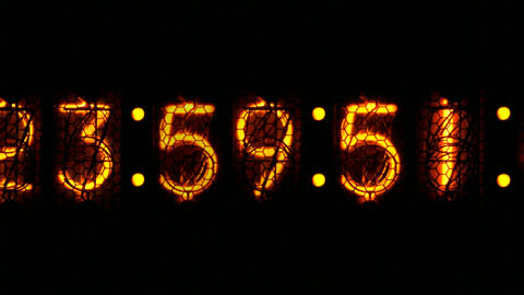 Nixie digital clock D1 Stock Video Footage