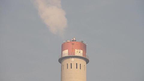 Industrial Scene Smoking Steaming Factory Tower 04... Stock Video Footage