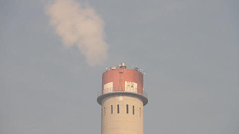 Industrial Scene Smoking Steaming Factory Tower 04 neutral close up Footage