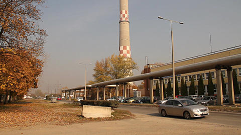 Industrial Suburban Area 03 autumn scene Stock Video Footage