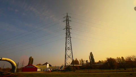 Industrial Suburban Area 11 factory tower haze Pan right... Stock Video Footage