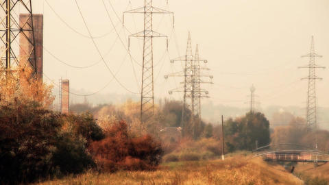 Industrial Suburban Area 13 extra high voltage electric... Stock Video Footage