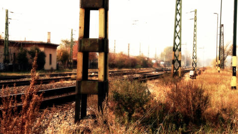 Junk Environment at Railway 06 suburban area stylized Stock Video Footage