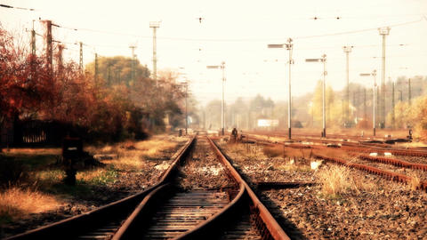 Junk Environment at Railway 08 suburban area stylized Stock Video Footage