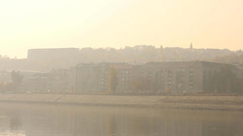Smog Haze in European City 02 Stock Video Footage
