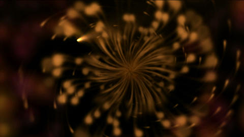 Dandelion seeds being blown,rotation petals and pistils,swirl turbine and rays laser light Animation