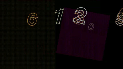 Number and alphabet in abstract square... Stock Video Footage