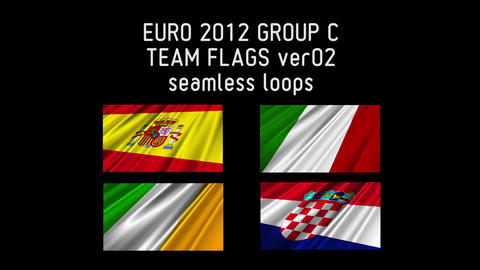 EURO 2012 Group C Flags 02 Stock Video Footage