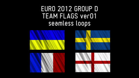 EURO 2012 Group D Flags 01 Stock Video Footage
