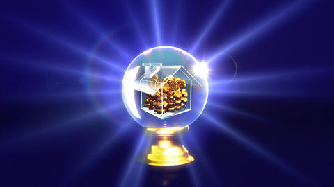 crystal ball future house saving money Animation