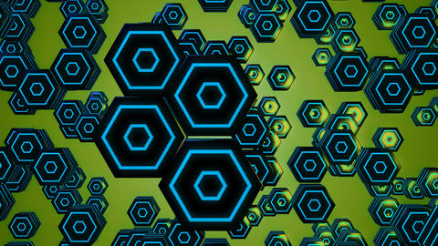 3d blue hexagonal Animation