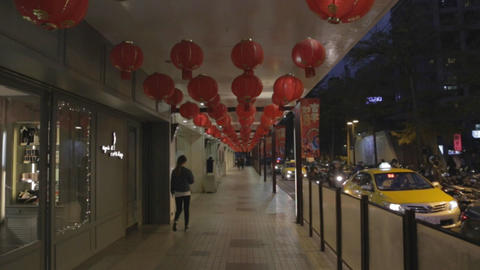 forward moving shot - many red lanterns in Taipei Footage