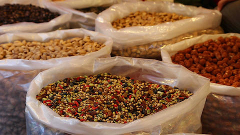 Taiwan market - close-up varieties of peanuts Footage
