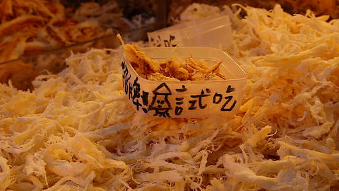 Taiwan market - hand samples dried shredded fish Live Action