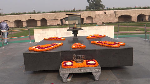 Raj Ghat, a memorial to Mahatma Gandhi Footage