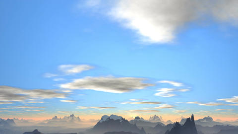 Sunrise over the mountains in the bright blue sky Animation