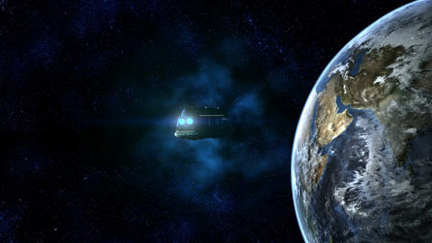 Space Passenger Liner reaching Earth Animation