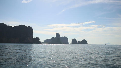 landscape of rocky islands in Thailand under morni Footage