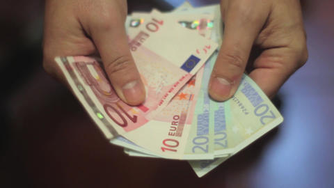 Euro Money in Hands Live Action