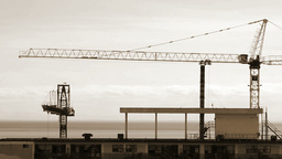 Cranes On A Construction Site stock footage
