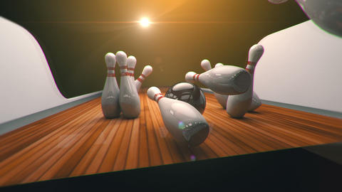 Bowling Strike Realistic Timewarp 3d Animation stock footage