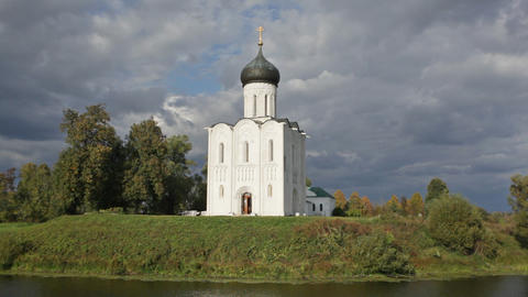 Church Of The Intercession Of The Holy Virgin On T stock footage