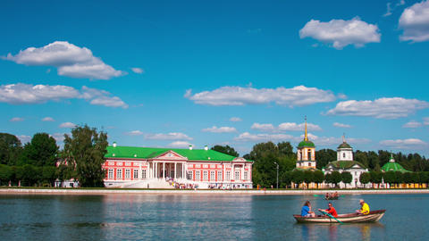 Kuskovo Palace And Pond With Boats In The Sunny Su stock footage
