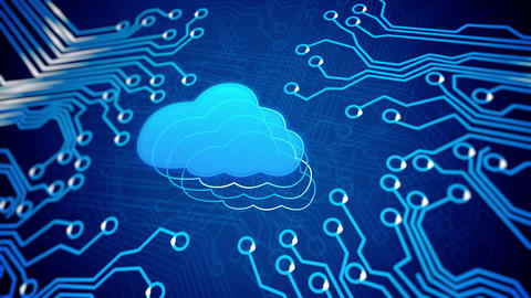 Cloud computing concept: circuit board with Cloud Animation