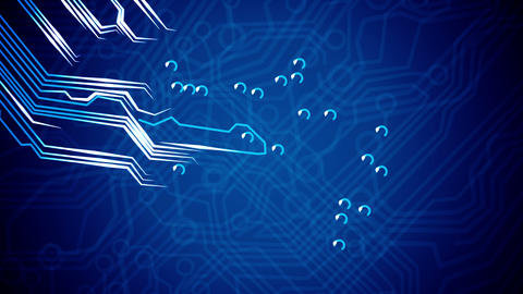 Flying through Conceptual circuit board's and sign Animation