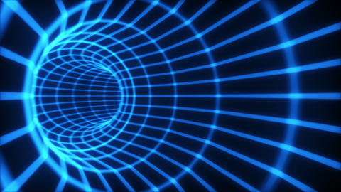 The blue abstract 3d tunnel from a grid. Loop Animation