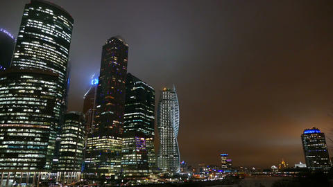 Business Center - Moscow City at night in winter Footage