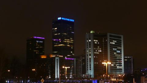 Night Moscow - International Trade Center Illumina stock footage