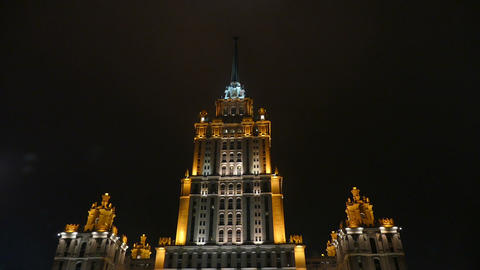 Ukraine Hotel (Radisson) in Moscow at night illumi Footage
